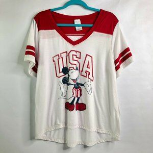 Disney Womens 1X Mickey Mouse USA Varsity Tee Shir
